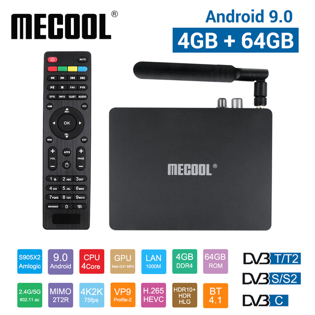 Lettore multimediale astuto di MECOOL K7, Android 9.0 TV Box 4G 64G Amlogic S905X2 2.4G/5G WiFi USB 3.0 TV Box