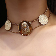 Embossed Chokers Necklace Egyptian Totem Exaggerated Vintage Simple Geometric Chain Necklaces
