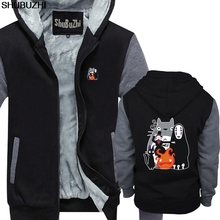 Gorąca sprzedaż zimowa bluza z kapturem mój sąsiad Totoro Studio Ghibli mężczyźni ciepły płaszcz modna bawełniana gruba bluza duży rozmiar sbz474 tanie tanio CN (pochodzenie) Pełna HIP HOP Drukuj REGULAR shubuzhi zipper Grube COTTON CASHMERE NONE