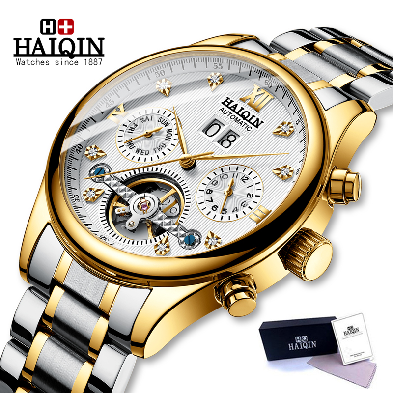 HAIQIN Men Watch Automatic Mechanical Watches Role Date Week Men Watches Top Luxury Brand Wrist Watch Clock Relogio Masculino