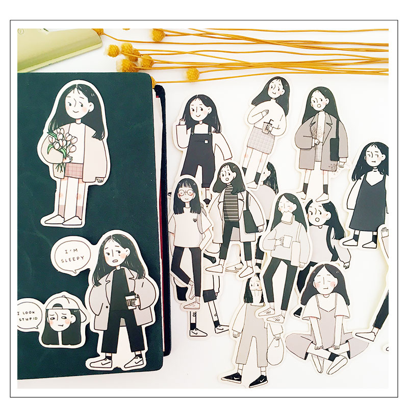 Купить с кэшбэком 17 PCS\SET Japanese Cute Female Intern\Anime Character\Kawaii Girl Diy Ablum Diary Scrapbooking Decoration Stationery Stickers