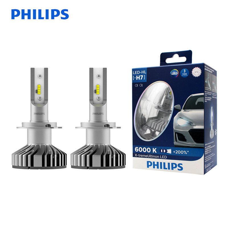 <font><b>Philips</b></font> <font><b>LED</b></font> <font><b>H7</b></font> 25W X-treme Ultinon <font><b>LED</b></font> Car <font><b>Headlight</b></font> Auto Lamps 6000K White Original Bulbs +200% Brighter 12985BWX2, Pair image