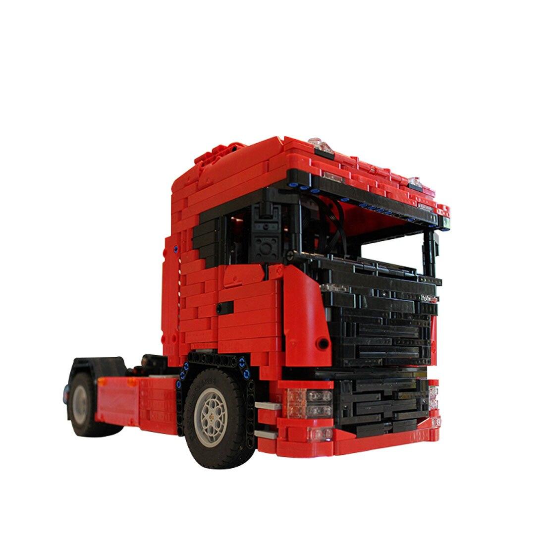 1661 pces moc rc caminhão veículo modelo de montagem de alto nível pequena partícula bloco de construção presente conjunto com motor e controle remoto