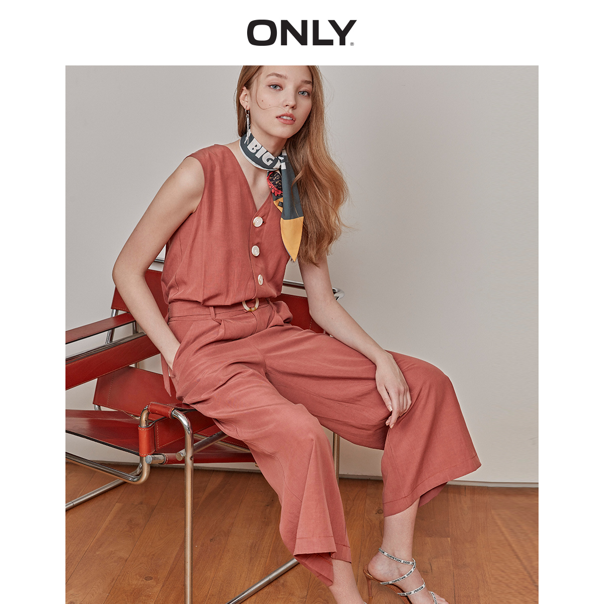 ONLY Women's Loose Fit Single-breasted Wide-leg Jumpsuit | 119244502