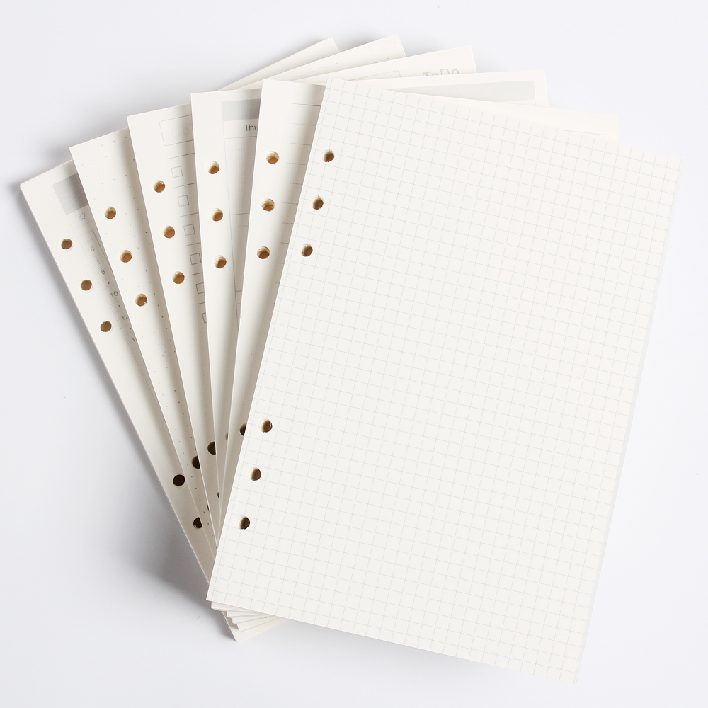 Classic 6 holes binder notebook inner paper core/refilling inner papers:line,grid,dots,list,daily weekly monthly planner A5 A6(China)