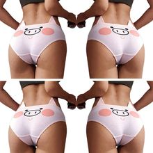 Womens Funny Underwear Low Waist Cute Cartoon Piggy Print  Panties Animal Thongs With 3D Pointed Ears