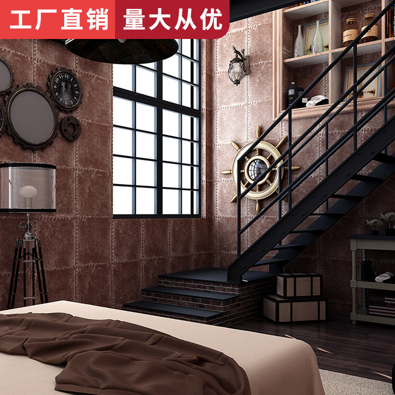 Restaurant Barber Shop Clothing Store Retro Bar Industrial-Style Wallpaper Gray Cement Marble Brick Pattern Brick Wallpaper