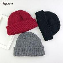 Hepburn Brand Brimless Hats Hip Hop Beanie Skull cap Women Men Unisex Casual Pumpkin Melon Cap Fisherman Docker Hat Slouchy