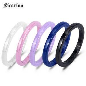 Женское керамическое кольцо DICARLUNBlue, черное или белое кольцо с эмалью, 3 мм, простой минималистичный свадебный подарок, 2019