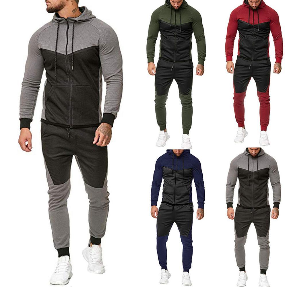 2020 Fashion Sports Stitching Long Sleeve Zipper Hoodie + Men's Sports Pants Sports Suit Men's Gym Training Set
