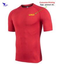 Özel LOGO streç koşu gömlek erkekler hızlı kuru spor t-shirt nefes spor salonu üst Tee erkek spor sıkıştırma Rashguard