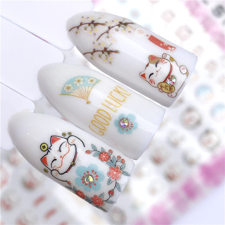 Foreign Trade Gum New Year Lucky Cat Japan Flower Brocade Nail Ornament Nail Sticker Nail Decals