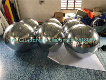 Large inflatable balloon, PVC silver mirror ball, 1 meter ball for advertising decoration