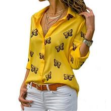 Modny nadruk z motylem wygodna bluzka z długim rękawem eleganckie damskie bluzki guziki jednorzędowe Streetwear damskie czarne białe koszule tanie tanio ETST WENDY Poliester CN (pochodzenie) Wiosna jesień REGULAR Osób w wieku 18-35 lat Skręcić w dół kołnierz WOMEN Przycisk