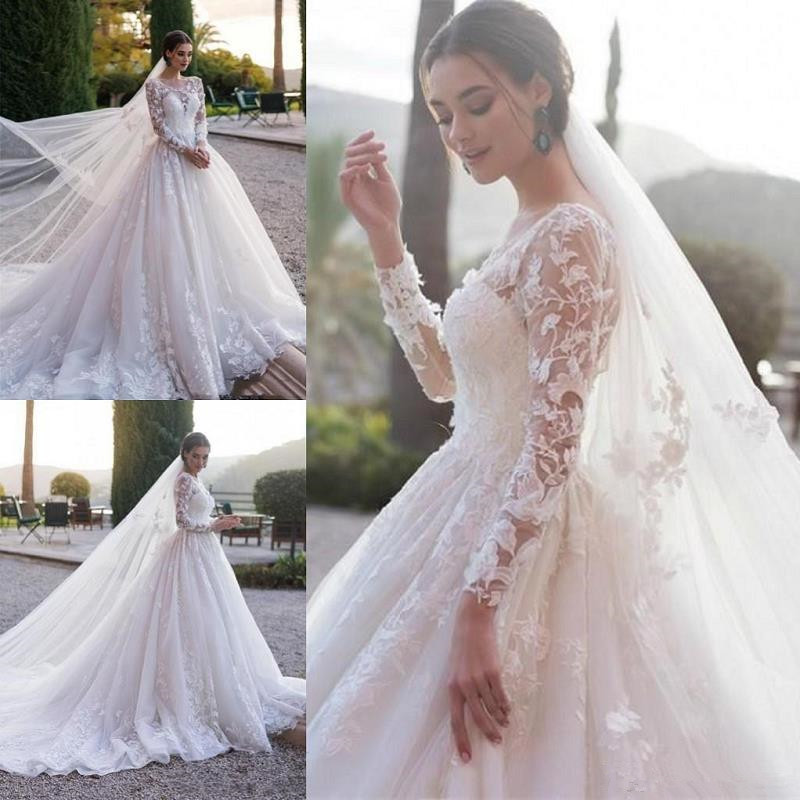 Vintage Long Sleeve Wedding Dresses 2020 Robe De Mariee Lace Wedding Gowns A Line Sheer Custom Made Bridal Dress Free Shipping