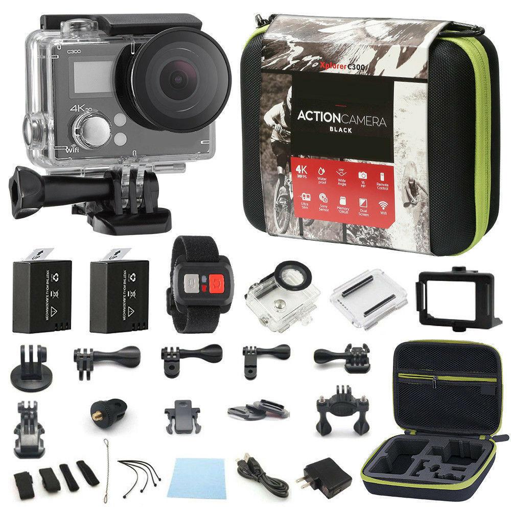 4K กล้อง Action Dual หน้าจอ Ultra HD 16MP กล้องวิดีโอกล้องกีฬา 4k + รีโมท + ชุดอุปกรณ์เสริม