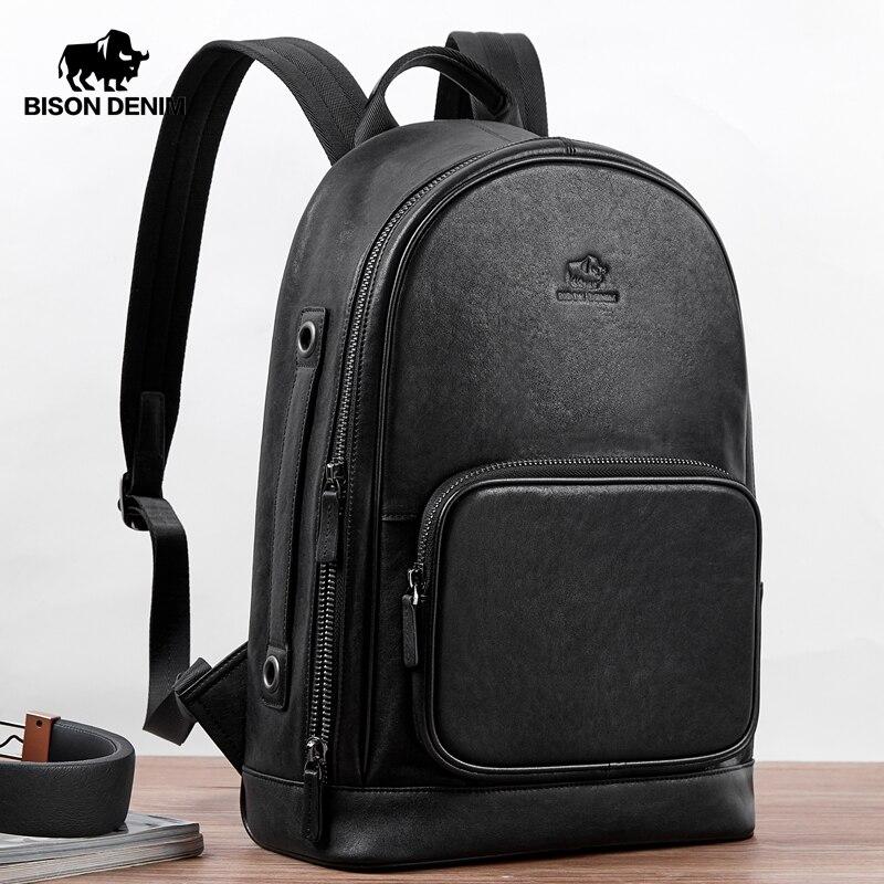 BISON DENIM Vegetable Tanned Genuine Leather Backpack 15 Inches Laptop Handbag Male Travel Backpack Schoolbag For Teenager N2954