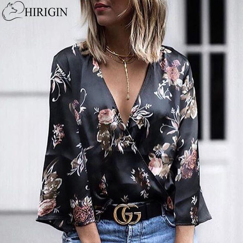 Fashion Blouses Women Floral Printing Blouse Spring Autumn Style Ladies Long Sleeve V Neck Loose Shirts Sexy Tops Female Blusas