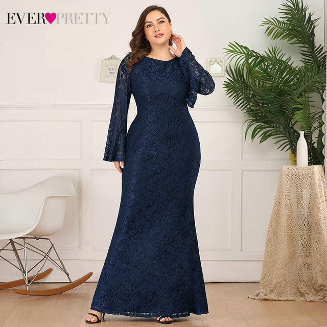 Plus Size Prom Dresses Long Ever Pretty Mermaid Flare Sleeve O-Neck Elegant Floral Lace Evening Party Gowns Vestidos De Gala