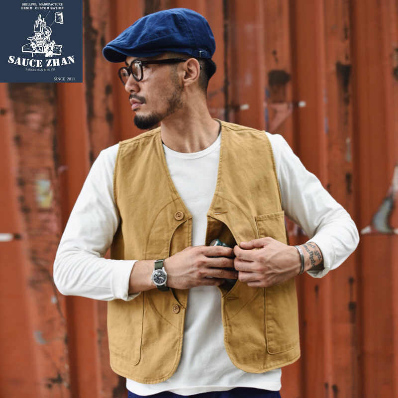 SauceZhan Retro Hunting Vest Canvas Vest VINTAGE May Chage Cotton Vest British Style Vest Mens Waistcoat Mens Vest waistcoat