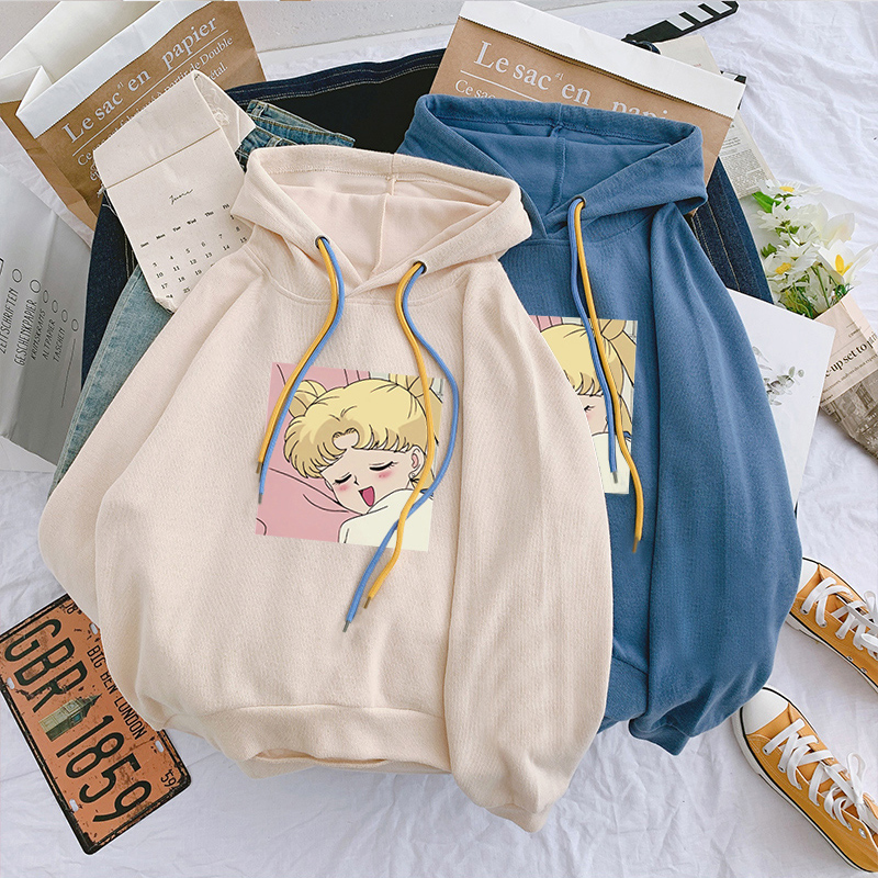 Sailor Moon Hoodies Sweatshirt Harajuku Hoodie 2019 Korean Style Ulzzang Kawaii 90s Cartoon Clothing Pullovers New Hooded