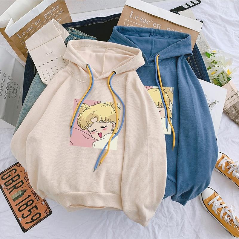 Sailor Moon Hoodies Sweatshirt Harajuku Hoodie 2020 Korean Style Ulzzang Kawaii 90s Cartoon Clothing Pullovers New Hooded