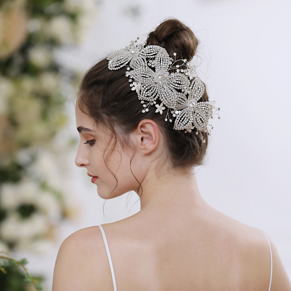 TRiXY H252-S Silver Diamonds Wedding Hair Accessory Crystal Bridal Crown Flora Tiaras Bridal Hair Crown Wedding Tiara crown