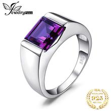 JewelryPalace Mens Square 3.3ct Created Alexandrite Sapphire 925 Sterling Sliver Ring for Men Fine Jerwelry Fashion Style