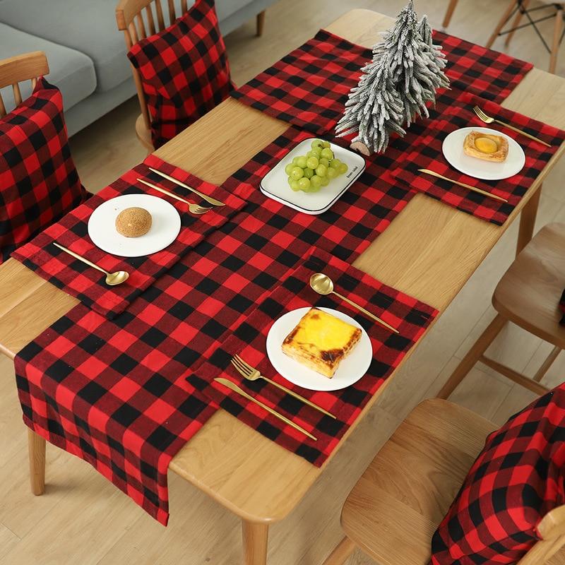 1 Pcs Red & Black Buffalo Plaid Table Runner Table Cloth Napkin Christmas Table Decoration Birthday Party Xmas Decor