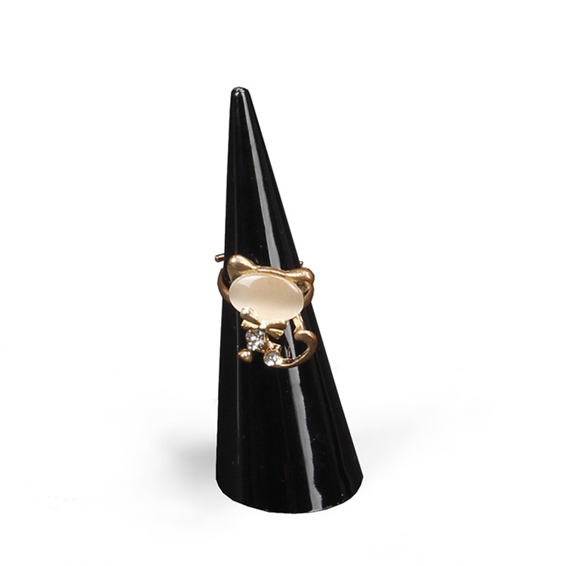 Fashion Mini Finger Ring Plastic Triangle Cone Jewelry Storage Display Stand For Rings 3 Colors Delicate Women Jewelry Display