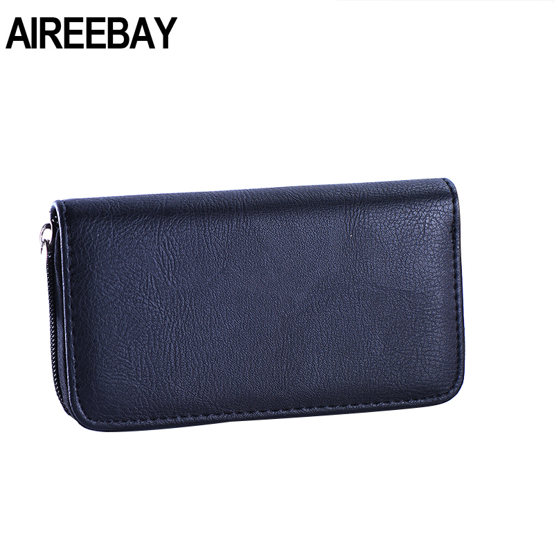 AIREEBAY Fashion Black Lady Purses Handbags Brand Design Long Women Wallet PU Leather Classic Money Coin Purse Cards ID Holder