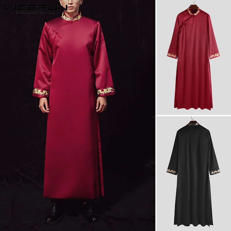 Chinese Style Men Robes Printed Retro Button Stand Collar Vintage Traditional Long Sleeve Cheongsam Men Long Gowns INCERUN S-5XL