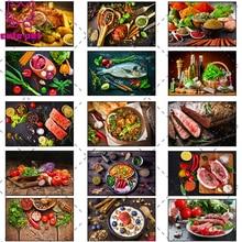 Алмазов картина Стразы Еда ингредиенты специи фрукты овощи мяса 5D, сделай сам, алмазная вышивка, вышивка крестом, мозаичный Декор