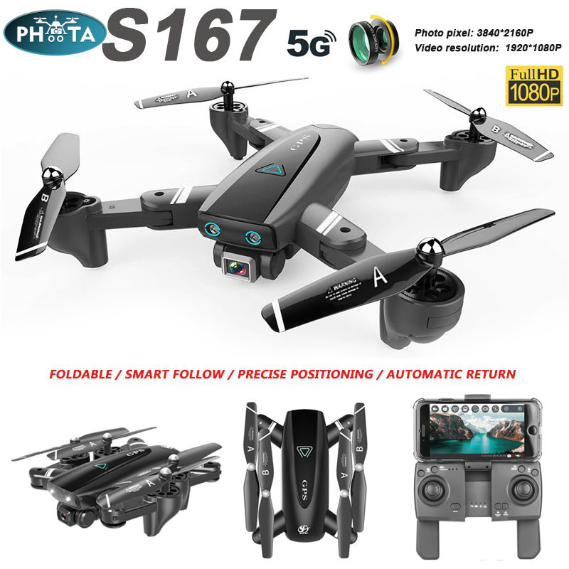 S167 Drone 4K profesional With HD Camera GPS Drone 5G 2 4G WiFi FPV follow me RC Quadcopter Long Flight time Drones VS SG907