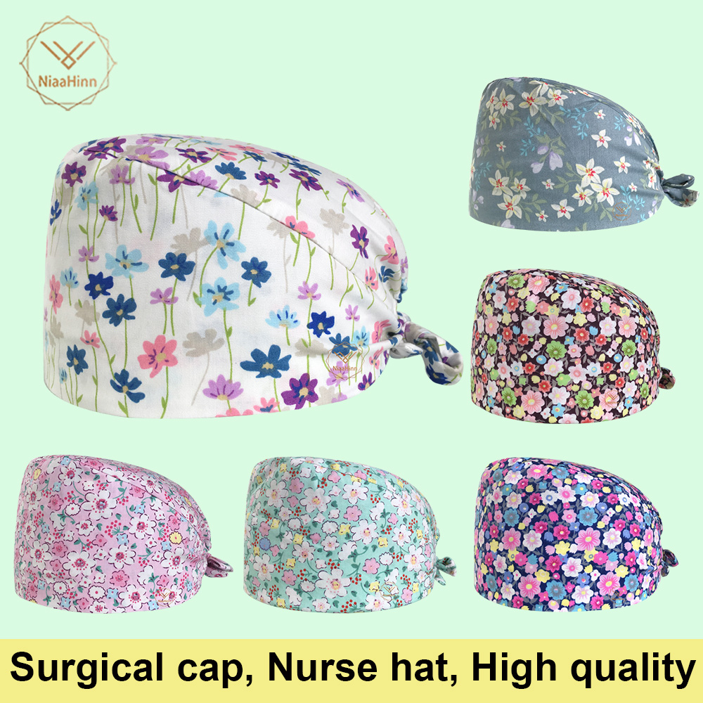 Unisex Medical Clothing Women Medical Beauty Cap Man Doctor Nurses Printing Scrub Caps Medical Surgical Surgery Hat Adjustable