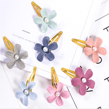 New 2PC/Set Flowers BB Clip Cotton Embroidery Hair Clips For Girls Birthday Present Handmade Headwear