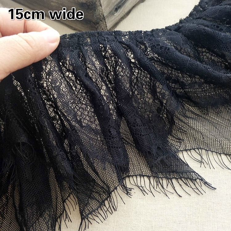 Черные расширенные двойные плиссированные ресницы, Тюлевое кружево, «сделай сам», женская и детская одежда для девочек, манжеты и юбка, удоб...