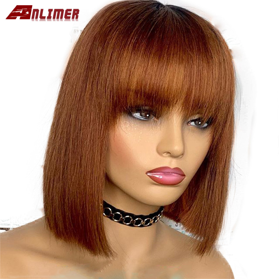 13X4 #30 Blonde Short Bob Cut Lace Front Human Hair Wigs With Bangs 8-16 Preplucked Straight Short Bob Wig Brazilian Remy