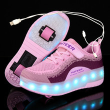 Skate-Shoes Wheels Roller Kids Sneakers Led-Light Boys Fashion Girls Children Blue Pink