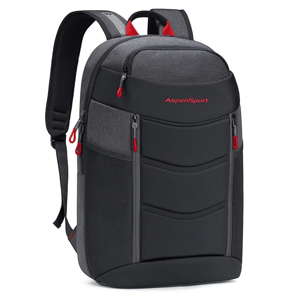 AspenSport Lightweight Laptop Backpack Fit 15-17 Inch Men Fashion Travel Bags TSA-Friendly Water Resistant School Bag Black