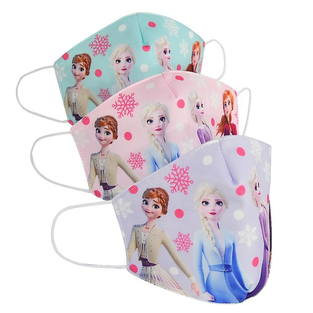 Cartoon Face Dustproof Breathable Mask for Kids Girl Adult Snow Queen Mouth Masks Festive Party Girls Sunscreen Anna Elsa Mask