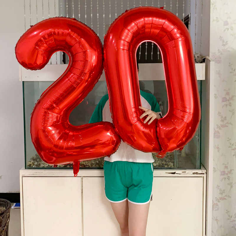 Large 40 Inch Red/Rose Gold Aluminium Foil Number Balloons 0-9 Birthday Ballons Wedding Party Decoration Adult Kids Air Globos