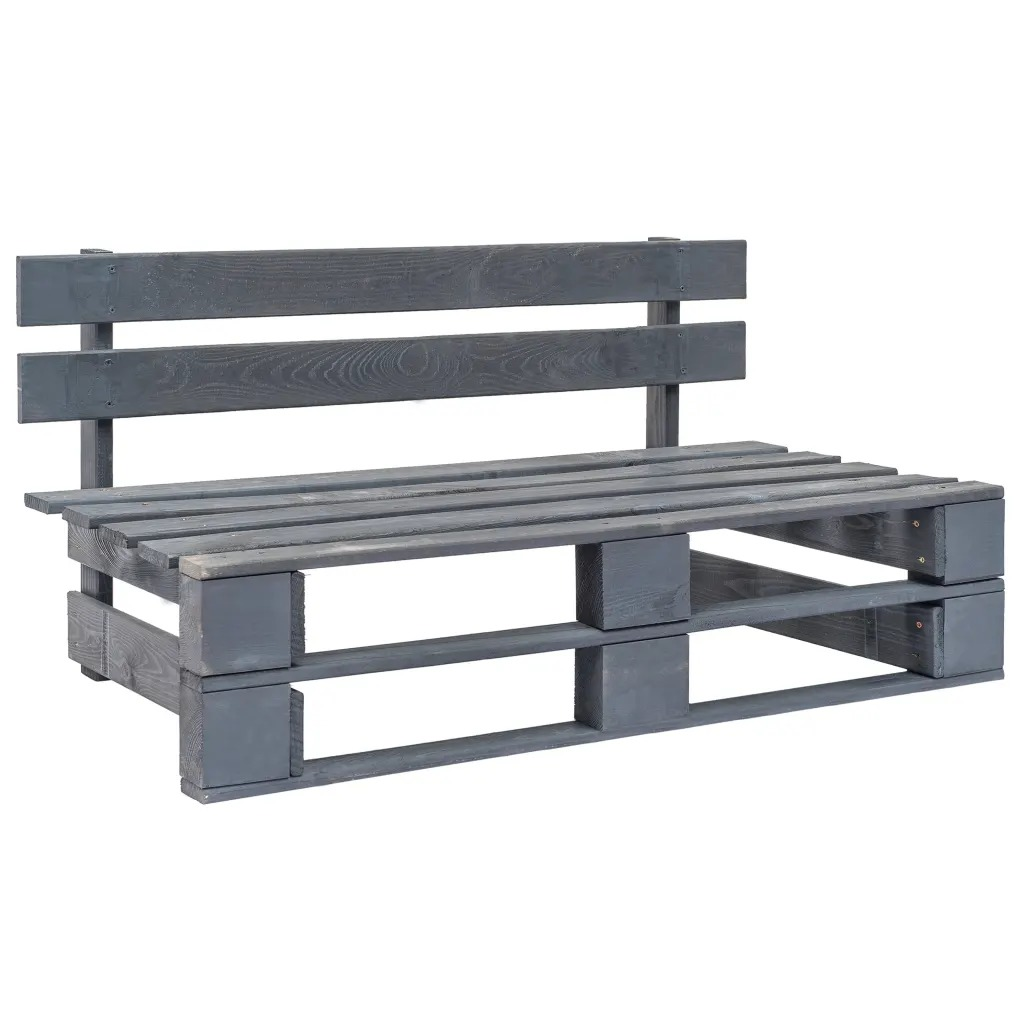 VidaXL Outdoor Garden Furniture Lounge Pallet Design FSC Wood Grey Garden Chair Outdoor Bench