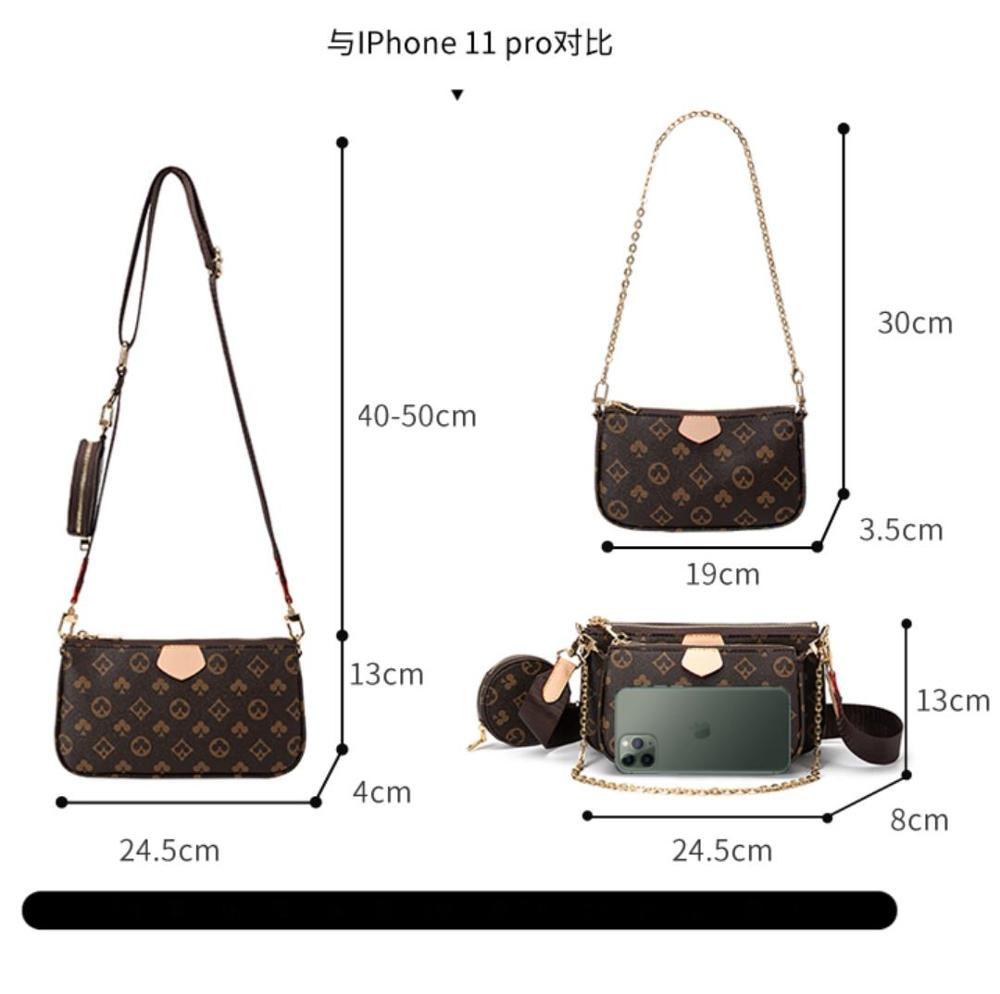 Famous Brand Bag Luxury Crossbody Bag 3-in-1 Vintage Handbag PU Leather Tote Bags Fashion Majhong Bag 2020 for Women