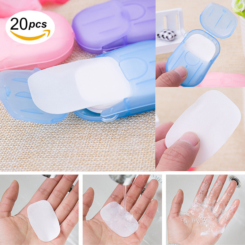 20 Pcs/Set Disposable Soap Paper Portable Hand Wash Bath Clean Scented Slice Sheets Mini Soap Paper For Outdoor Travel Camping