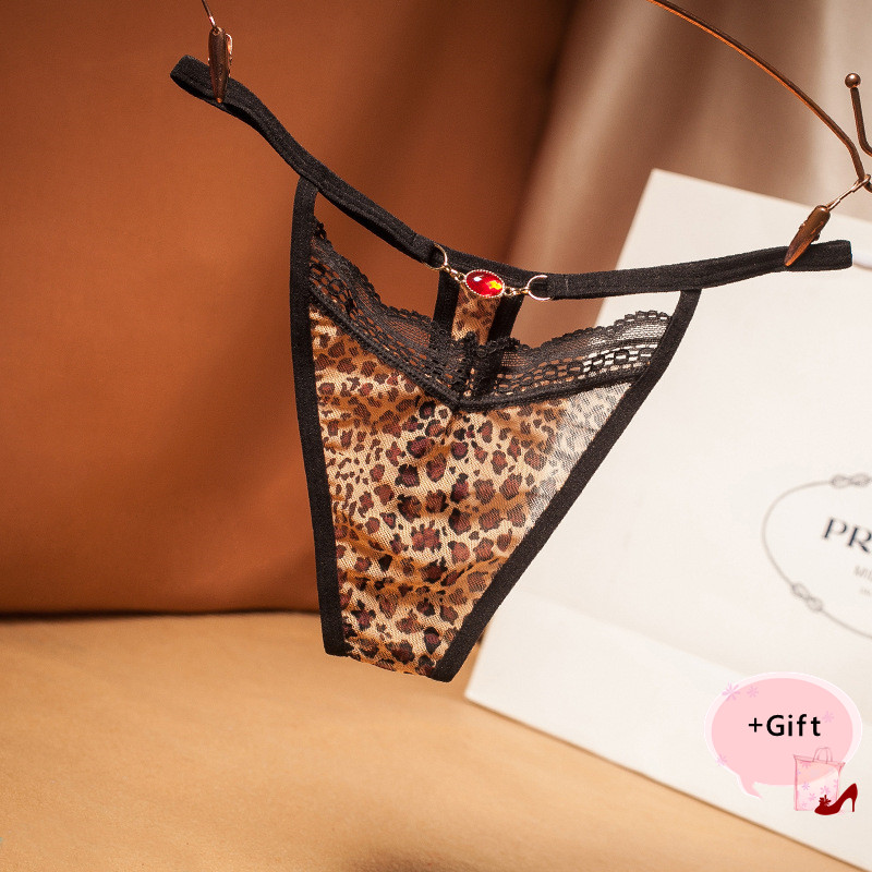 Women Sexy Lace Ultra-thin Coffee Leopard Breathable Panties Transparent G-String Temptation For Women Erotic Thong Panties