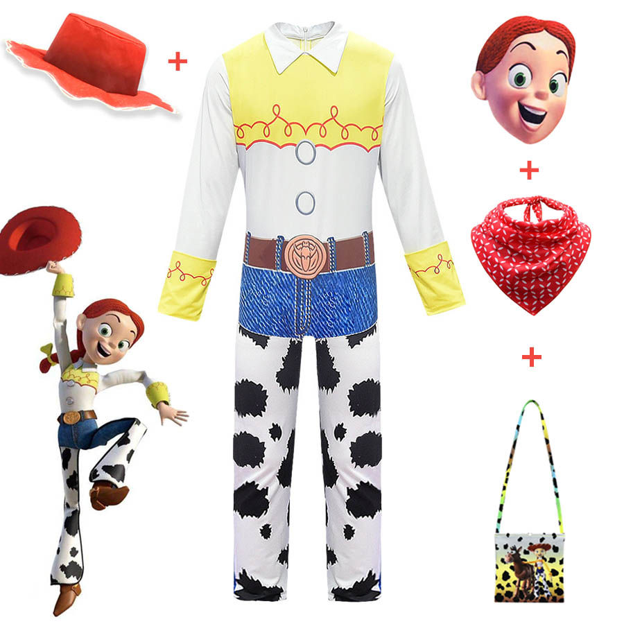 Toy Story 4 Beyond Jessie Cosplay Costume Halloween Carnival Costumes Jumpsuits For Girl Yodeling Cowgirl Full Set With Hat Bag