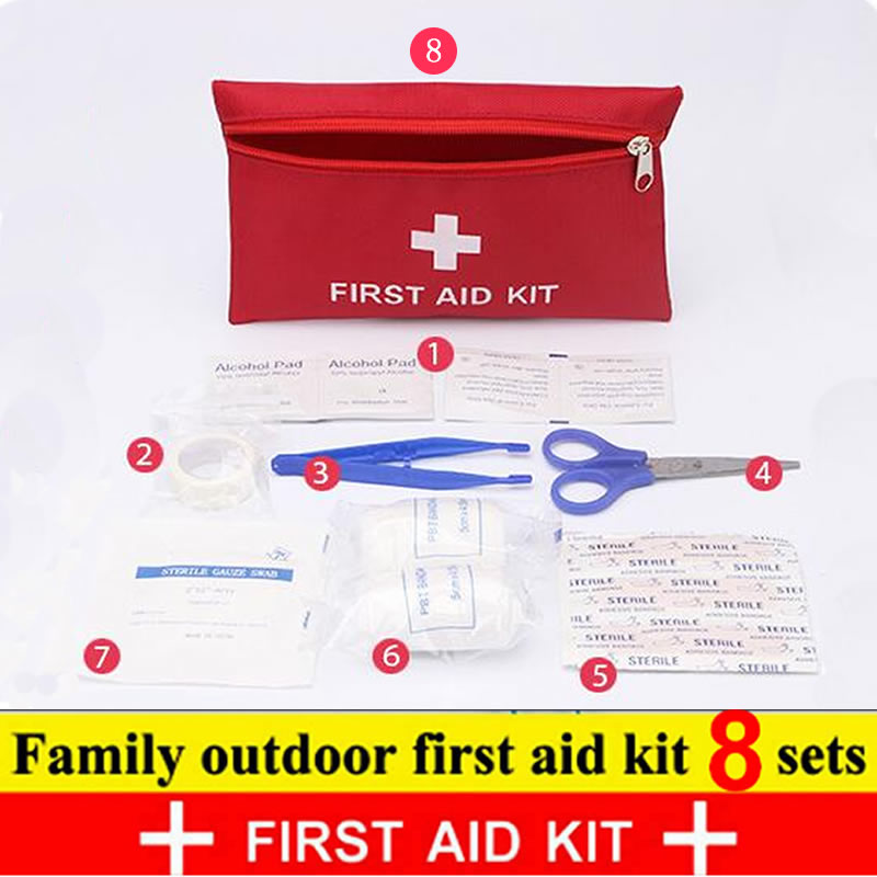 8Pcs Set Travel Accessories First Aid Kit Family Outdoor MINI Safe Waterproof Emergency Sport Survival Medical Treatment Kit
