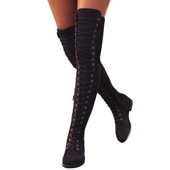 Seksowne damskie buty zimowe buty zakolanówki zasznurowane gumowe buty damskie Stretch styl rzymski na kolanach dla kobiet tanie i dobre opinie yadibeiba CN (pochodzenie) Sztuczny zamsz Over-the-knee Stałe 1-S401 Mieszkanie z Jazda Jeździectwo Cotton Fabric Okrągły nosek