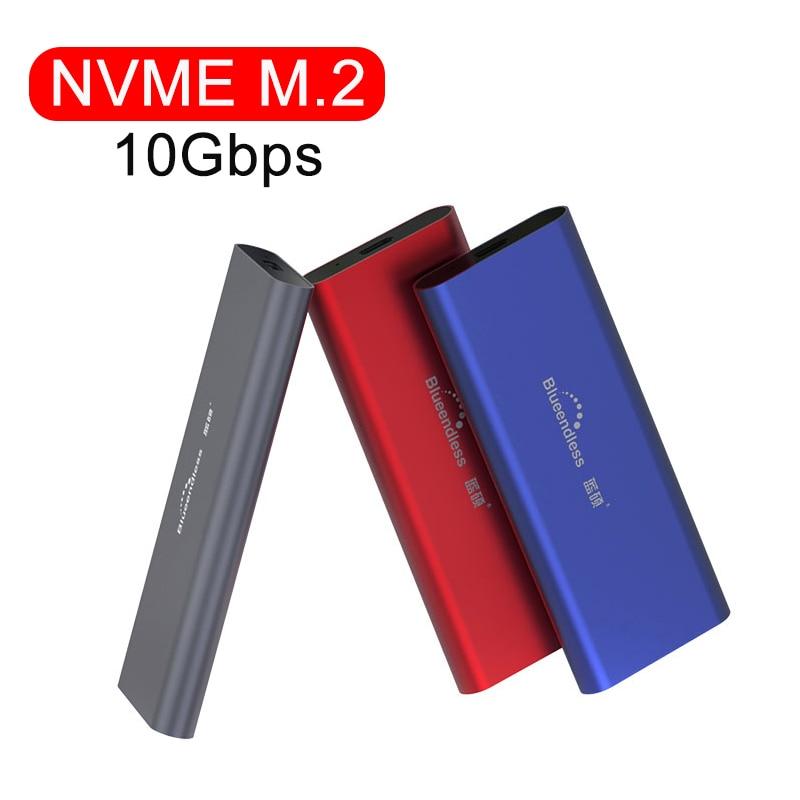 PCIE M.2 NVME GEN2 10Gbps SATA NGFF 6Gbps Case USB SSD Enclosure Type C USB 3.1 SSD Case NVME Hard Disk Enclosure HDD Case